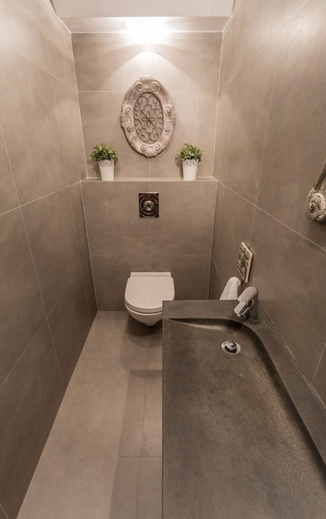 34249745 - view from the top of contemporary restroom with marble tiles