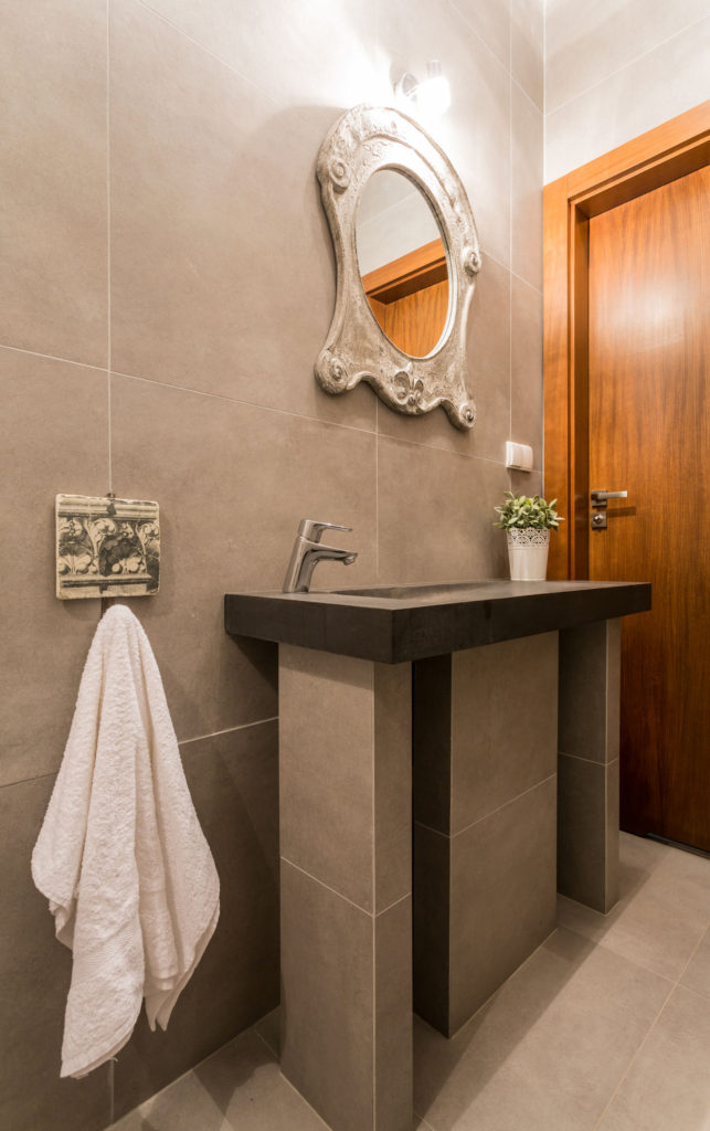34251474 - photo of new marble basin in luxury bathroom
