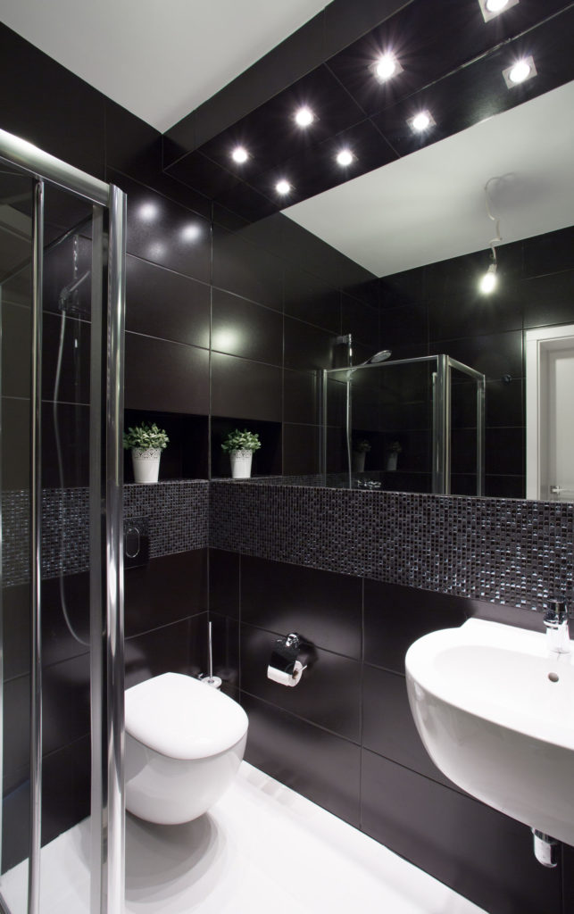 40544735 - modern design of small bathroom with black tiles